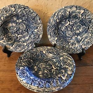 Churchill Blue Peony Wide Rim Soup Bowls - 6